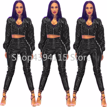women long sleeve zip open faux leather PU short top jackets zip open pencil long pants two pieces sets tracksuits suits(China)