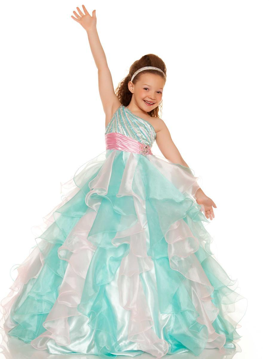 Mint And White One Shoulder Flower Girl Dress Blue Dresses For 12