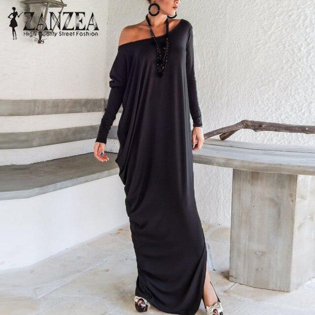 1fa96e42b7c Plus Size New ZANZEA Women Off Shoulder Long Sleeve Autumn Loose Kaftan  Maxi Dress Casual Split