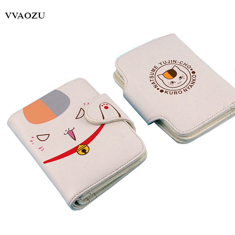 Natsume Yuujinchou Cat PU Magnetic Buckle Short Wallet Natsume's Book of Friends Anime Nyanko Sensei Purse with Card Holder natsume yuujinchou cool pu anime nyanko sensei wallet long style purse with zipper