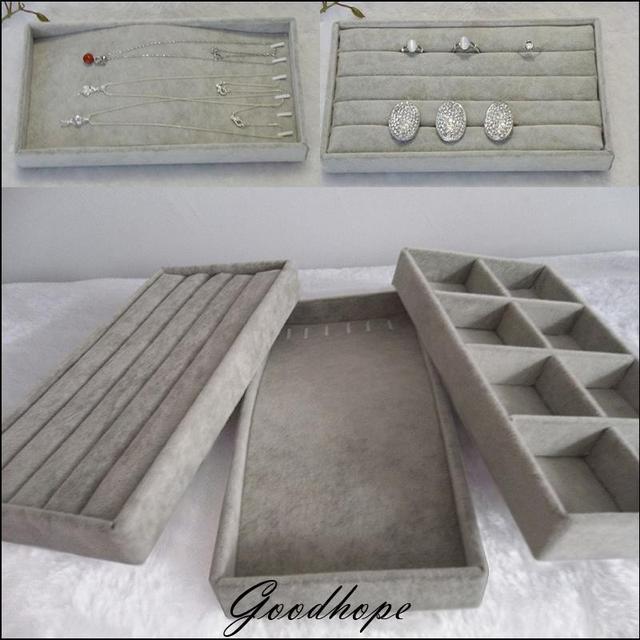 Organizer Popular Grey Velvet 11x22cm Jewelry Display Tray Kit Ring