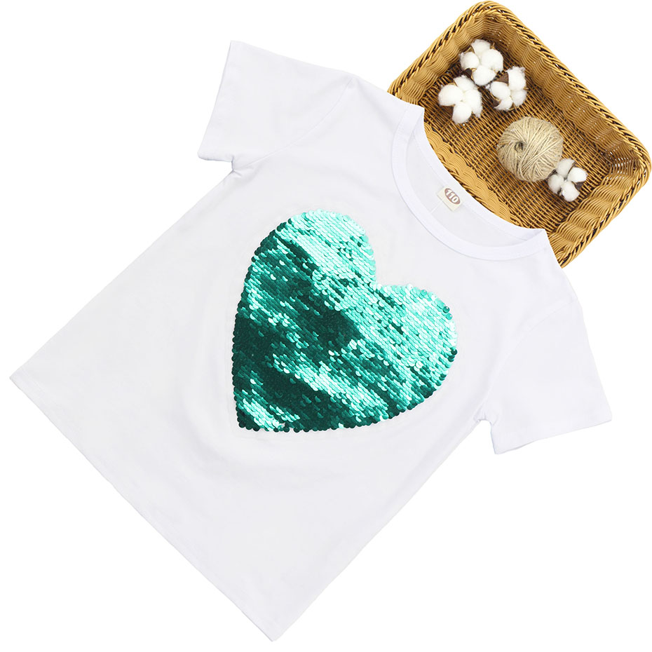 HTB1GMiXSYrpK1RjSZTEq6AWAVXaU - T-Shirt For Girls Heart Sequin T Shirt Girl Short Sleeve Kids T Shirt Teenage Summer Clothes For Girls 6 8 10 12 13 14 Year