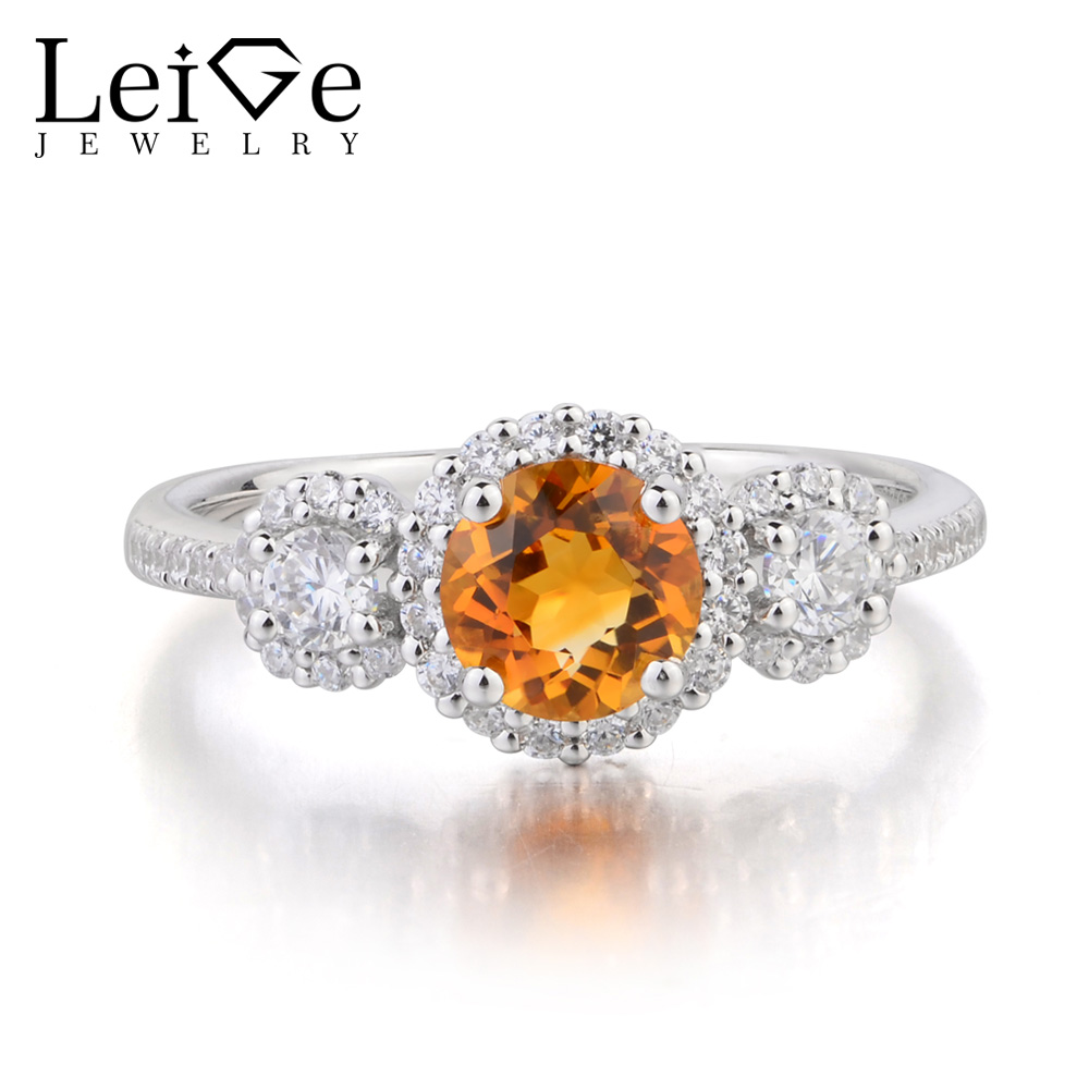 Leige Jewelry Yellow Gemstone Wedding Ring Round Cut Natural Citrine Ring 925 Sterling Silver Ring November Birthstone GiftsLeige Jewelry Yellow Gemstone Wedding Ring Round Cut Natural Citrine Ring 925 Sterling Silver Ring November Birthstone Gifts