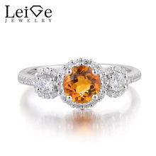 Leige Jewelry Yellow Gemstone Wedding Ring Round Cut Natural Citrine Ring 925 Sterling Silver Ring November Birthstone Gifts