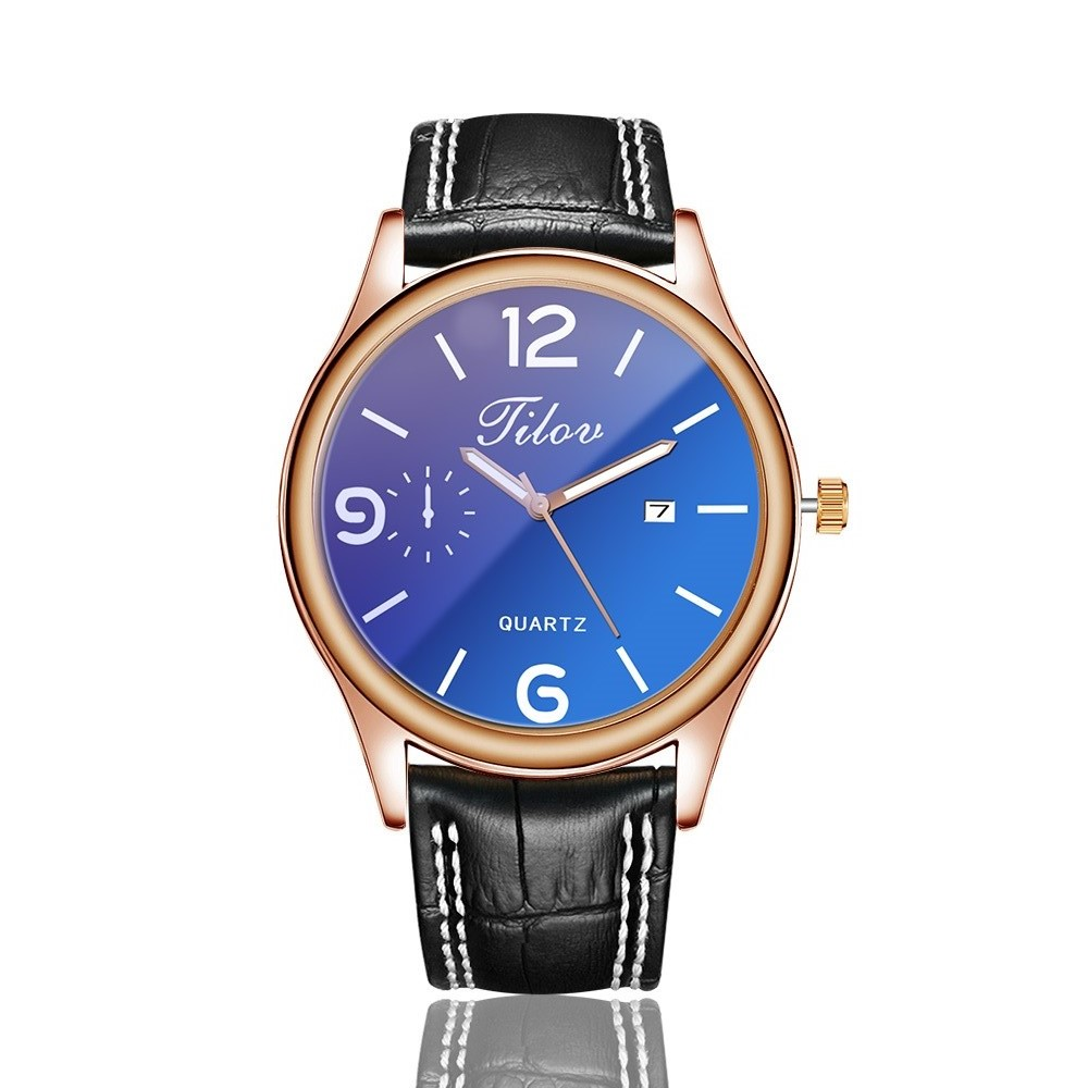 2018 Men's Watch Personality Waterproof Calendar Wristwatches Leather Men Quartz Watches Round Buckle Alloy Simple Black Casual 1