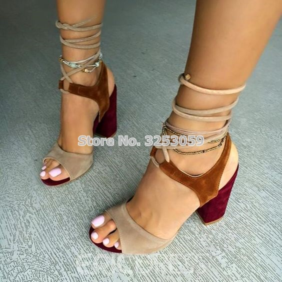 Women Cross Strappy High Heel Sandals Thick Heels Brown Suede Color Block Chunky Heel Sandals Patchwork Dress Shoes Dropship