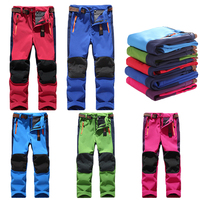 Children Thermal Softshell Skiing Pants for girls Pantalon De Ski Windproof Snowboard Trousers Hiking Trekking Pants