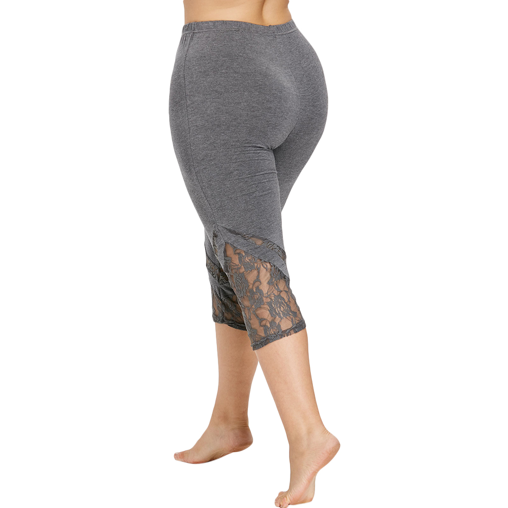 ROSE GAL Lace Trim Capri Plus Size Leggings Women Sexy Fitness Legging Calf-Length Pants Women Summer Workout Leggings Push Up