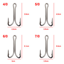 10pcs 7982 Stainless Steel Double Fishing Hooks Big Strong Sharp Double Fishing Hook Size 4/0 5/0 6/0 7/0 8/0 9/0