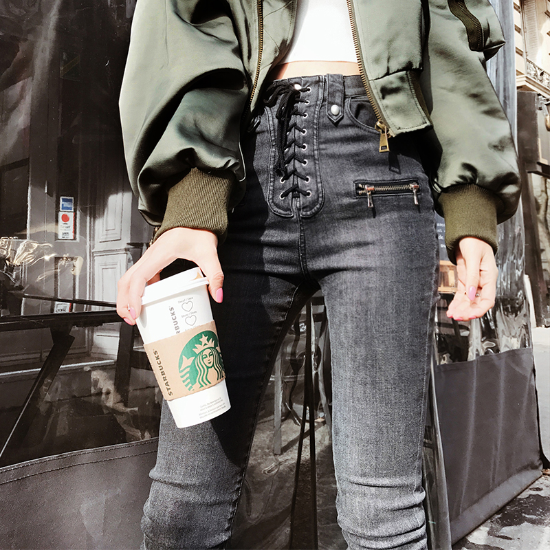 OFTBUY brand Jeans woman 2017 new Summer Elasticity Skinny Washed jeans zipper Drawstring black High waist