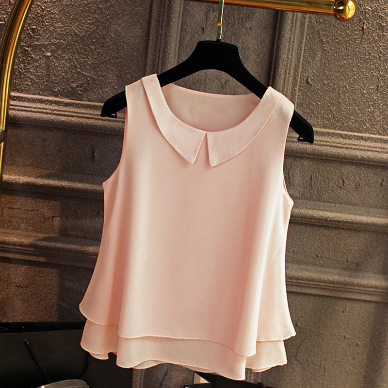 New Brand Sleeveless Solid Color Chiffon Blouse Women Summer 2017 Peter Pan Collar Tops Oversized S-5XL Female Shirt