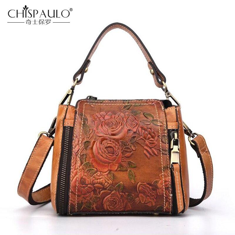 CHISPAULO 2019 marque de mode en cuir véritable femmes sac Designer Vintage femmes Messenger sac femme sac à bandoulière femmes fourre-tout sacs