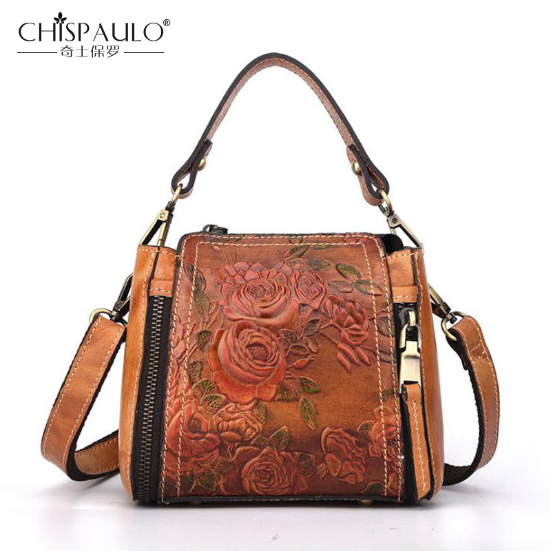CHISPAULO 2018 Fashion Brand Genuine leather Women Bag Designer Vintage Women Messenger Bag Female Crossbody Bag Women Tote Bags chispaulo 2017 designer brand cowhide women genuine leather handbag fashion cacual women s shouldercrossbody messenger bags x12