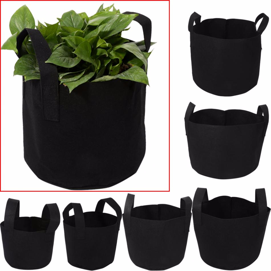 1/2/3/5/7/10 Gallon Black Garden Plant Grow Bag Vegetable Flower Pot Planter DIY Potato Garden Pot Plant Eco-Friendly Grow Bag