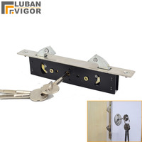 Stainless steel,Hanging door/Pull gate Double Hook lock, Stealth lock,For Framed glass door,strong, durable,Door hardware