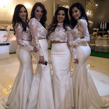 Two Pieces 2017 Mermaid High Collar Long Sleeve Lace Appliques Long Bridesmaid Dresses Cheap Under 50 Wedding Party Dresses