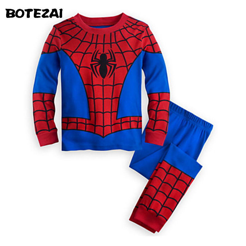 New 2016 Children Cosplay Cartoon Pajamas Set For Christmas Clothes Tracksuits Baby Kids Iron Spiderman Children Sports Suits