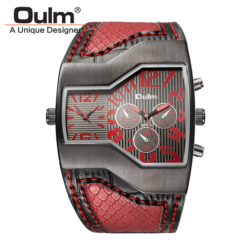 TEAROKE Oulm Brand Men Quartz Watch Snake Pattern Leather Strap Dual Time Zone Casual Antique Male Sport Clock Boys Wristwatch thermometer watch compass watch dual time zone dual movt quartz watch for men oulm 1149