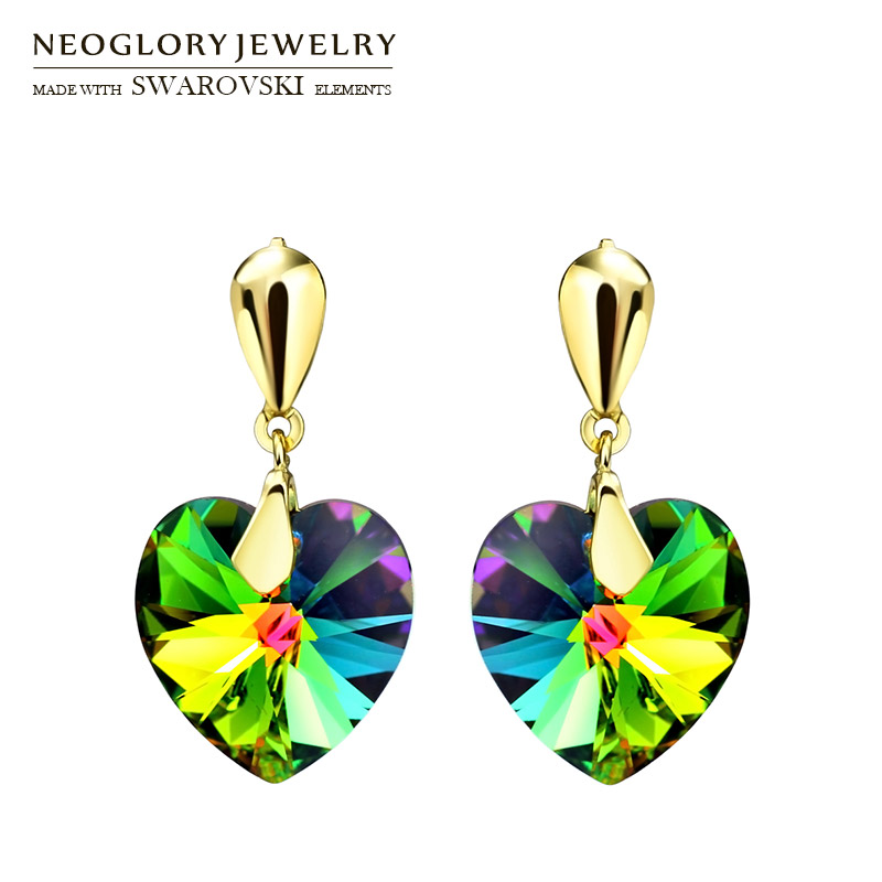 Neoglory Austria Crystal Stud Earrings Elegant Romantic Heart Style Light Yellow Gold Color Trendy For Lady Sale Party Wedding