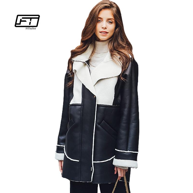 Fitaylor font b Women b font Leather font b Jacket b font European Wool Turn Down