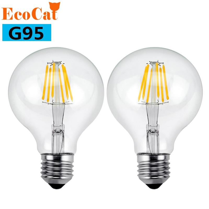 LED Edison lamp G95 E27 Filament Light Glass AC 220V 240V 4W 6W 8W Housing Blub Lamps chandelier Replace Halogen
