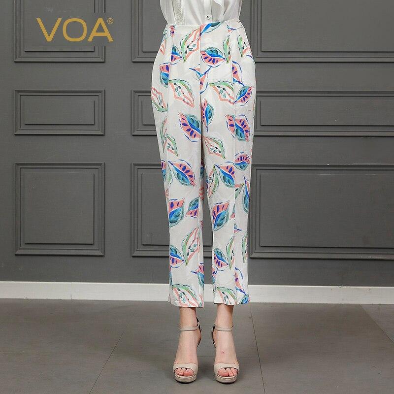 VOA цветочный принт дамские шаровары для женщин 100% тяжелый шелк Белый мотобрюки Harajuku уличная Dames broeken grande taille femme K796