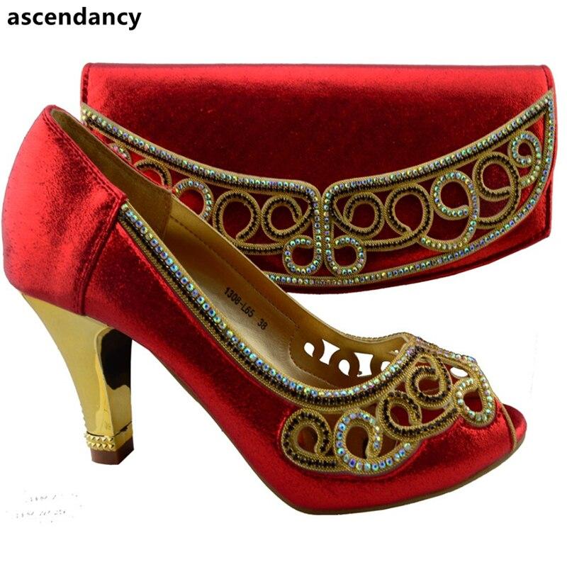Sac Ensemble Chaussures Italiennes Avec Parti pourpre Noir Dames Pour Et Africain Femmes Le rouge Arrivée Couleur Nouvelle Noir Mariage Correspondant wAnpv0zq