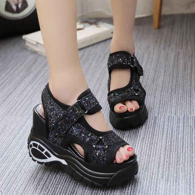 267e30672 Женские босоножки, лето 2018, новые модные босоножки на платформе,  повседневная женская обувь на