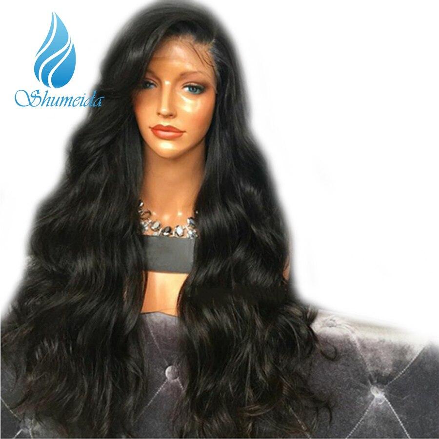 Shumeida 250% Плотность Glueless Синтетические волосы на кружеве Человеческие волосы Искусственные парики с ребенком волос Средства ухода за кожей в...