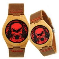 Fashion Couple Quartz Watch Leather Skull Bracelet Wristwatch Bamboo Case Women Men Creative Casual Wrist Watches