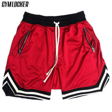 GYMLOCKER summer Solid color mesh compression quick-drying shorts men's
