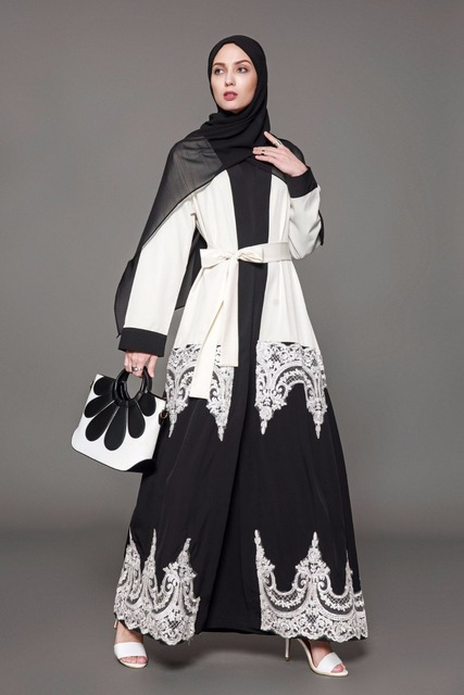 9b06b5eeab6f 2018 Plus Size 5XL Arab Elegant Abaya Kaftan Islamic Fashion Muslim Dress  Clothing Design Women Black White Dubai Abaya 1566