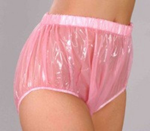 3 Pieces ADULT BABY Incontinence PLASTIC PANTS Pink P005-5