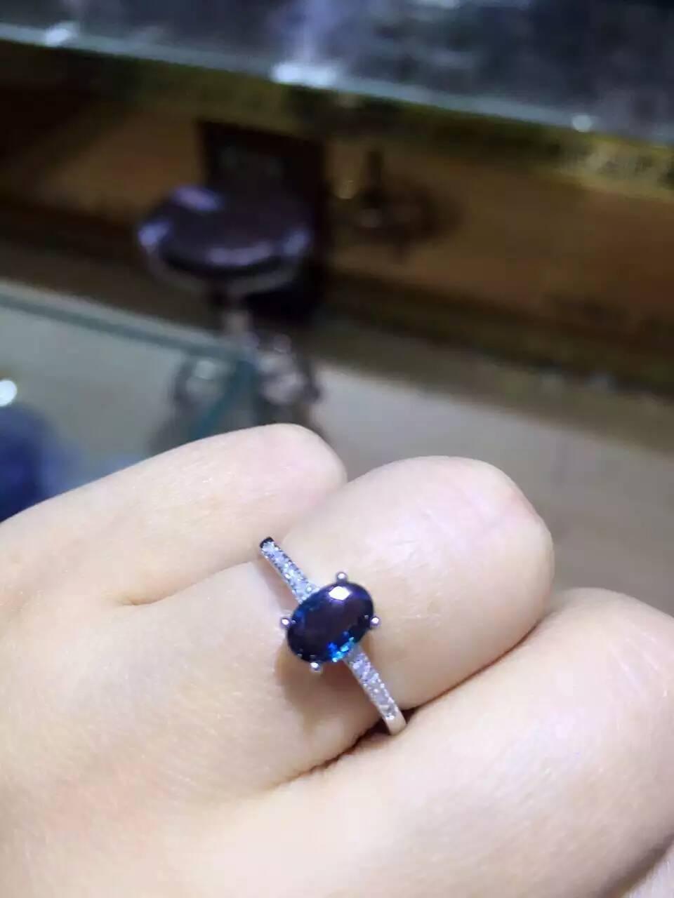 все цены на Natural dark blue sapphire gem Ring Natural gemstone Ring 925 sterling silver trendy simple elegant round women Office Jewelry онлайн