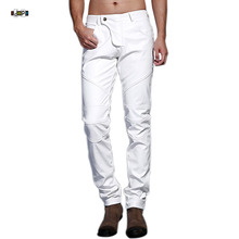 Idopy Men`s Motorcycle Faux Leather Pants Multi Colors Red Blue Black White Biker Style Dance Stage Performance Trousers