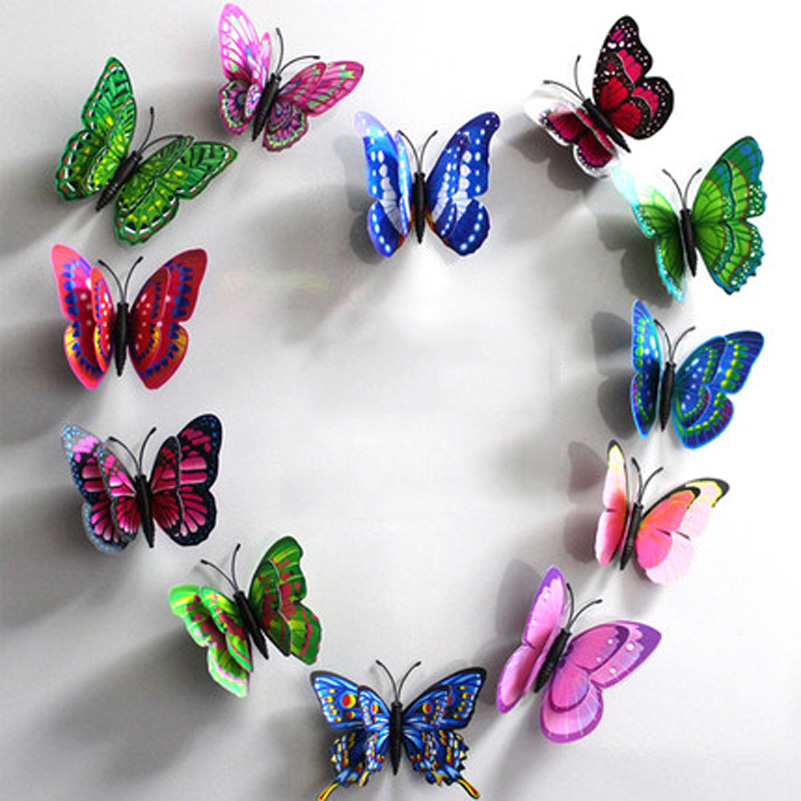 10pcs  Artificial Butterfly Luminous Fridge Magnet For Home Christmas Wedding Decoration