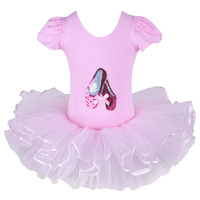 Freeshipping Girl Kid Dance Shoes Print Pink Leotard Ballet Tutu Dancewear Skate Party Show Dress SZ3