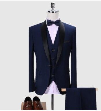 ブランド男性スーツ 2019 結婚式のスーツショールカラー 3 枚スリムフィットブルゴーニュスーツメンズロイヤルブルータキシードジャケット