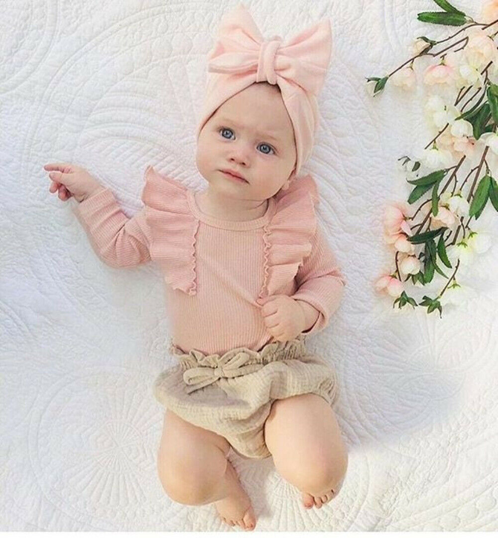 Toddler Newborn Baby Girls Clothing Set Flower Baby Costumes knit T Shirts + Bow Bloomer Shorts Outfits