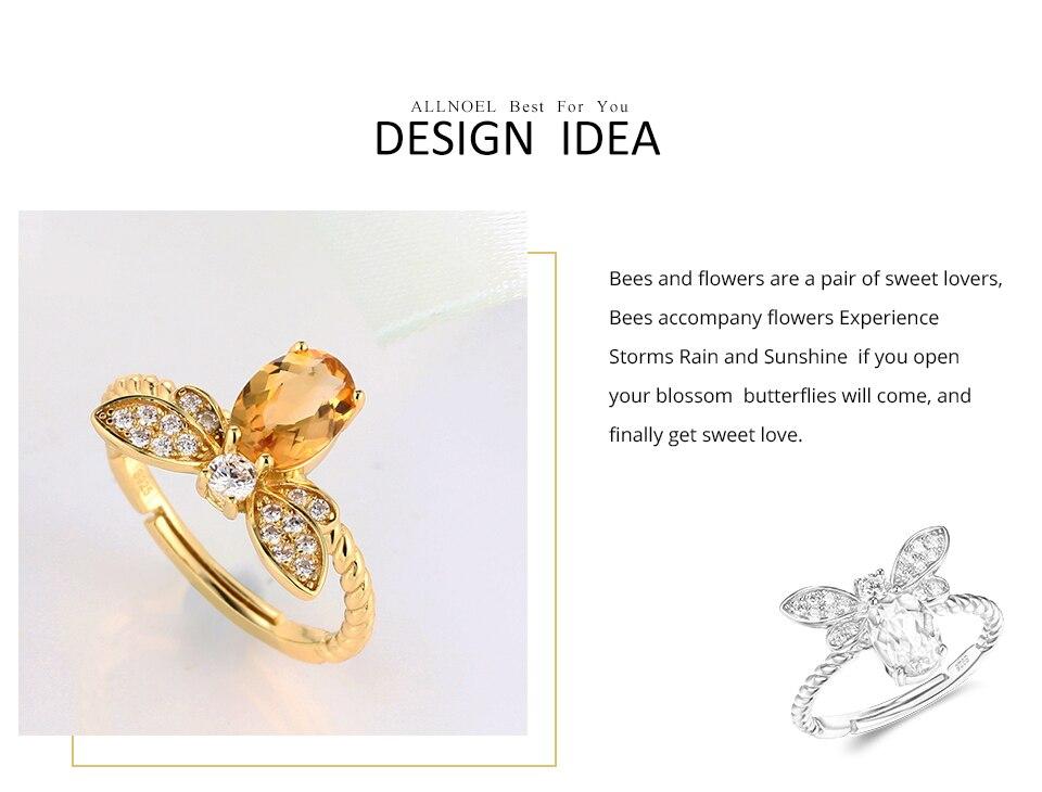 HTB1GMktacfrK1Rjy1Xdq6yemFXa7 ALLNOEL Fine Jewelry Rings 925 Sterling Silver Natural Gemstone Citrine Bee Engagement Ring Set Wedding Silver Custom Jewellry