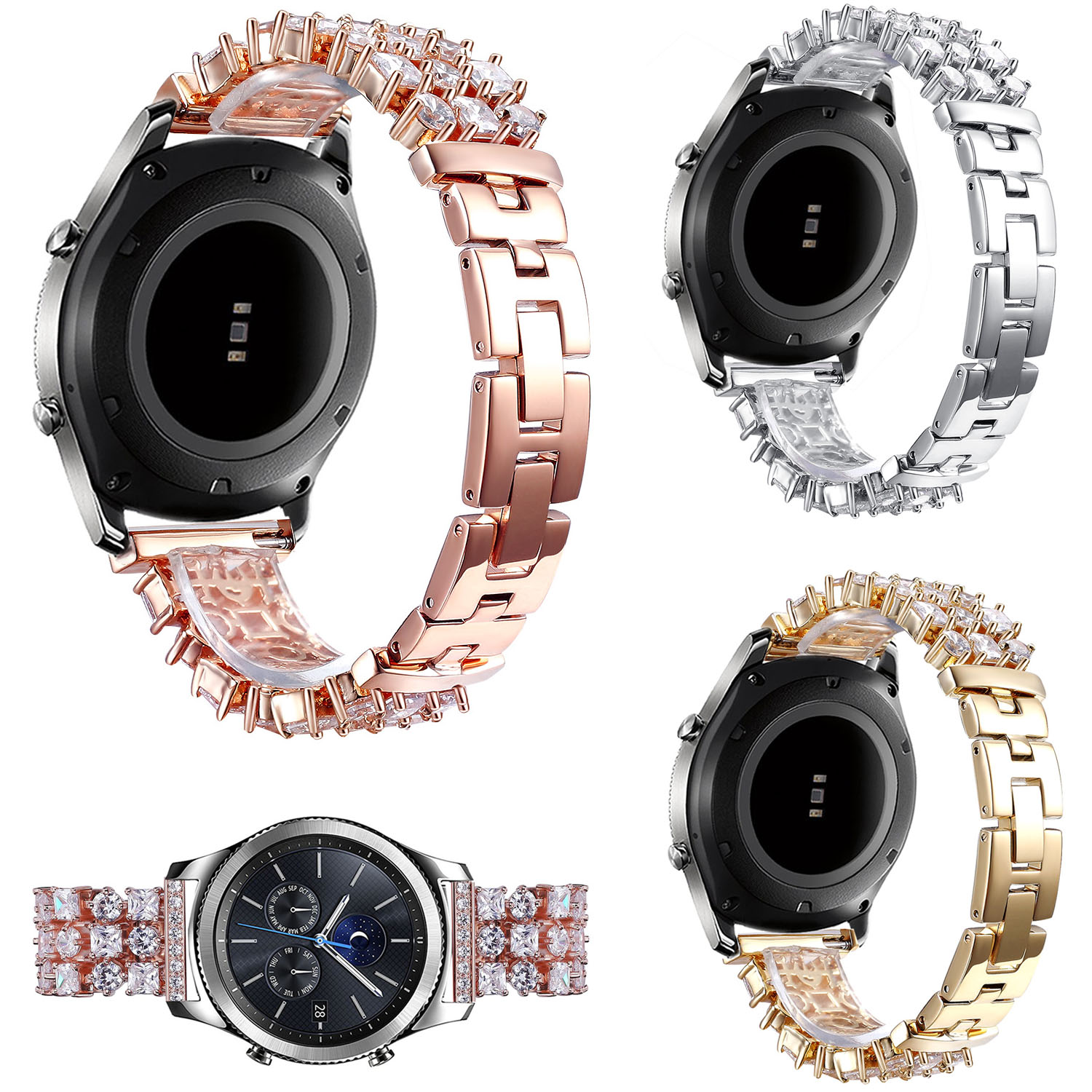 22mm Glitter Bling Rhinestones Crystal Link Band for Samsung Gear S3 Frontier / S3 Classic Watch Bracelet Stainless Steel Strap 22mm stainless steel watchband for samsung gear s3 wrist smart watch band link strap bracelet for s3 classic s3 frontier band