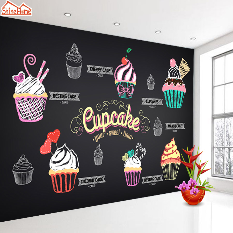 ShineHome-3D Bakery Pizza Cupcake Shop Custom Wallpaper Mural Rolls Hotel Restaurant Coffee Cake Bar KTV Background Decor 3d rock n roll music it s my time any size custom wallpaper mural rolls hotel restaurant coffee bar ktv living room background