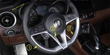 LAPETUS Steering Wheel Decor Strip Frame Cover Trim 3 Pcs For Alfa Romeo Stelvio 2017 2018 2019 ABS Matte Style