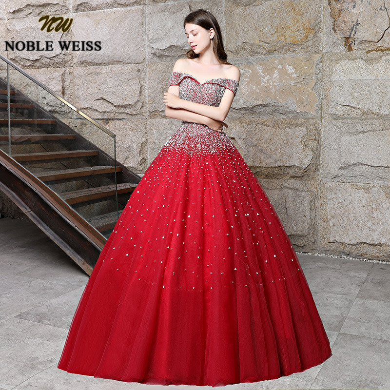 prom dresses red long ball gown prom dress heavy beaded lace-up women prom gown sleeveless tulle evening gowns puffy dress 4