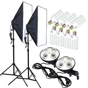 Image 1 - استوديو الصور 8 قطعة 35 واط LED لمبات 50*70 سنتيمتر سوفتبوكس الإضاءة المستمر 4 مصباح حامل الناشر ضوء موقف 2 قطعة طقم التصوير