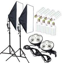8 шт. 35 Вт светодиодный лампы 50*70 см непрерывной Освещение Софтбоксы фотографии диффузор комплект 100-240 В 4-лампа-держатель с и Осветительные стойки 2 шт.