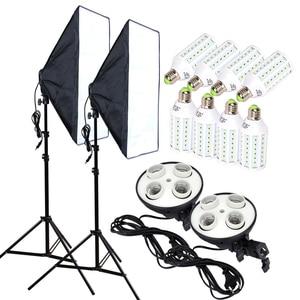 Image 1 - Fotoğraf stüdyosu 8 adet 35w LED ampuller 50*70cm sürekli aydınlatma Softbox 4 lamba tutucu difüzör işık standı 2 adet fotoğraf seti