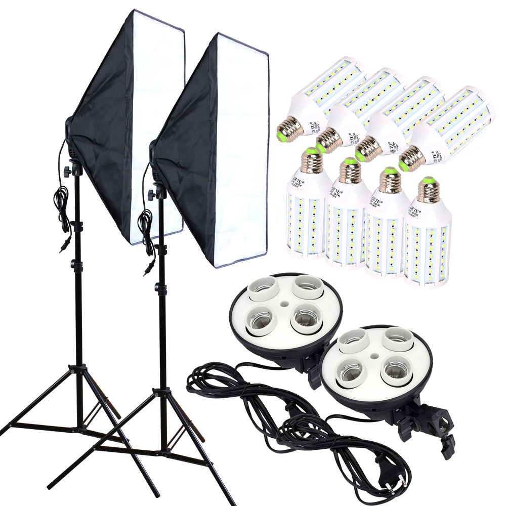 Photo Studio 8PCS 35W Becuri LED 50 * 70cm Iluminat continuu Softbox Suport lumina difuzor 4-lampi Stand 2pcs Kit de fotografie