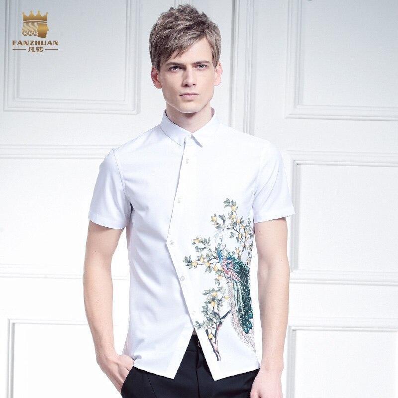 Fanzhuan livraison gratuite nouveau mâle été décontracté mode hommes blanc irrégulière conception motif impression chemise paon 612056 blouse-in Casual Shirts from Vêtements homme on AliExpress - 11.11_Double 11_Singles' Day 1