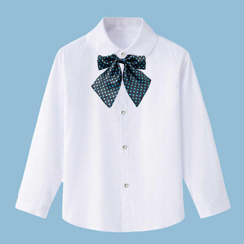 Белые рубашки для девочек, Студенческая форма, однотонная блузка из 100% хлопка с длинными рукавами Школьная одежда для подростков 8, 10, 12, 14 лет, Vestidos